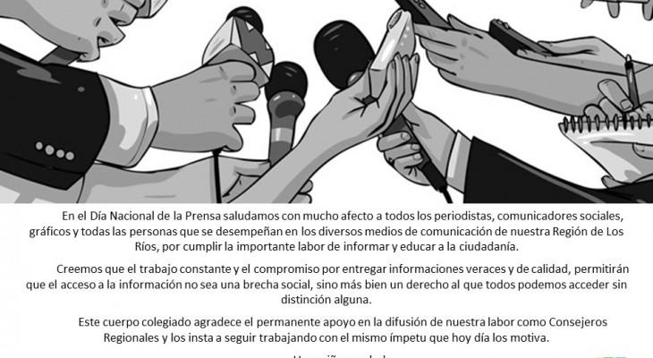 En el Día Nacional de la Prensa el CORE Los Ríos les saluda afectuosamente